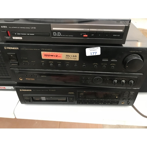 177 - VARIOUS HIFI COMPONENTS - A TEAC DV3000 DVD PLAYER, A PIONEER PD-M603 CD PLAYER, A PIONEER VXS-804RD...