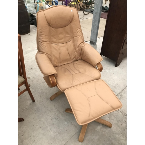 766 - A STRESSLESS STYLE SWIVEL ARMCHAIR AND FOOTSTOOL...