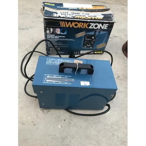 92 - A WORKZONE 160 AMP TURBO FAN COOLED MIG WELDER IN BOX W/O...