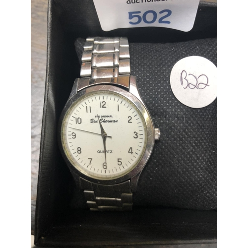 502 - A GENTS 'BEN SHERMAN' WRIST WATCH, (W/O)...