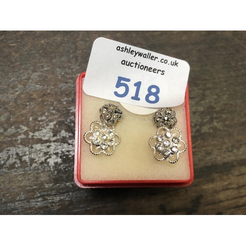 518 - TWO PAIRS OF LADIES SILVER EARRINGS...