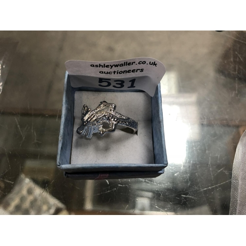 531 - A SILVER 'DRAGON' RING (BOXED)...