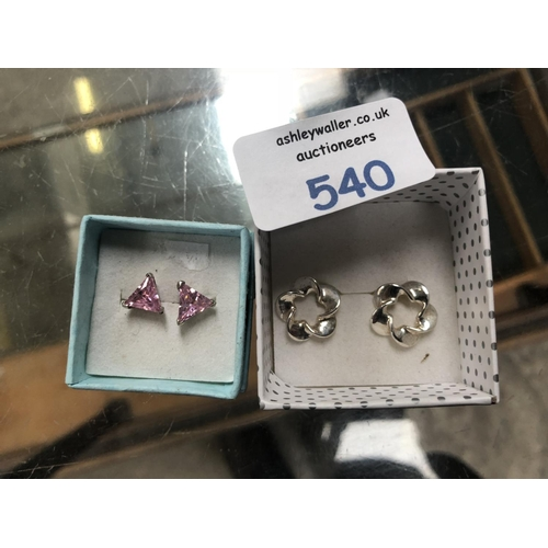 540 - TWO PAIRS OF LADIES SILVER EARRINGS TO INCLUDE FLORAL EXAMPLE AND TRIANGULAR CUT PINK STONE EXAMPLE ...