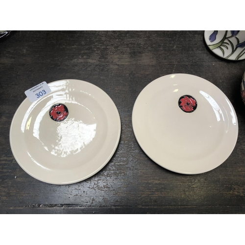 303 - TWO MOORCROFT POTTERY 'POPPY' SIDE PLATES, DIAMETER 17CM, RRP £90 (FIRSTS) (2)...
