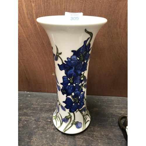 305 - A MOORCROFT POTTERY VASE DECORATED IN THE 'DELPHINIUM' PATTERN DESIGNED BY KERRY GOODWIN, SHAPE NUMB...