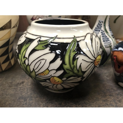 319 - A MOORCROFT POTTERY VASE DECORATED IN THE 'PHOEBE SUMMER' PATTERN DESIGNED BY RACHEL BISHOP, SHAPE N...