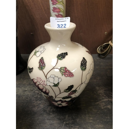 322 - A MOORCROFT POTTERY VASE DECORATED IN THE 'BRAMBLE REVISITED' PATTERN DESIGNED BY ALICIA AMISON, SHA...