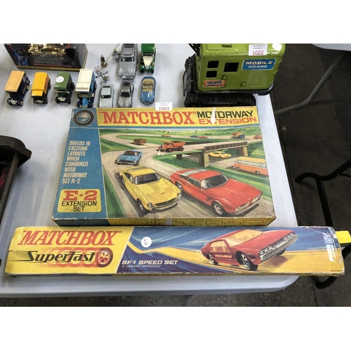 1023 - A BOXED VINTAGE 'MATCHBOX' MOTORWAY E-2 EXTENSION SET TOGETHER WITH FURTHER 'MATCHBOX SUPERFAST' RAC...