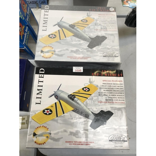 1035 - TWO BOXED LIMITED EDITION 1941 'GEARBOX' COLLECTABLE F4F-3 'WILD CAT' MODEL AERO PLANES (2)...