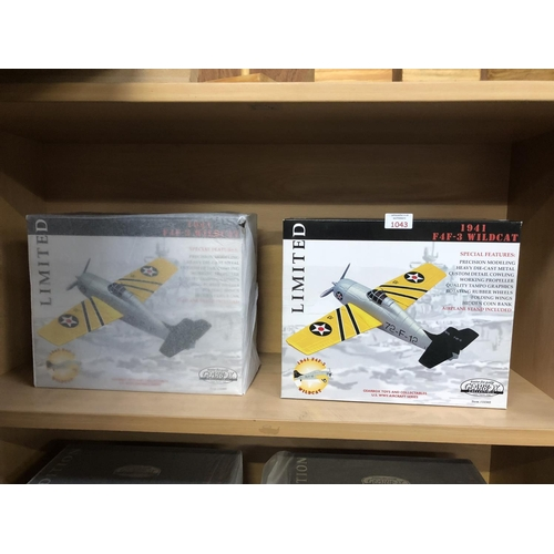 1043 - TWO BOXED LIMITED EDITION 1941 'GEARBOX' COLLECTABLE F4F-3 'WILD CAT' MODEL AERO PLANES (2)...