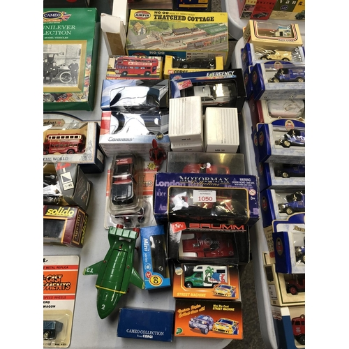 1050 - 23 VARIOUS BOXED VEHICLES TO INCLUDE DIE-CAST 'ROUTE MASTER BUS', 'AIRFIX' THATCHED COTTAGE, 'CARARA...