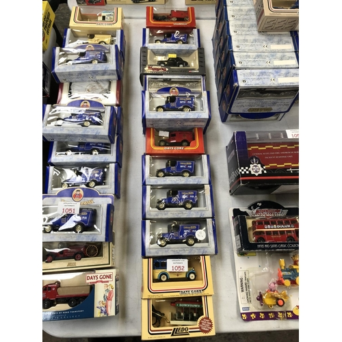 1052 - 12 VARIOUS BOXED MODEL CAR VEHICLES TO INCLUDE 'DAYS GONE', 'OXFORD' DIE-CAST, 'CORGI' MOTORING MEMO...