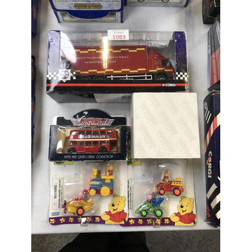1053 - FIVE VARIOUS BOXED VEHICLES TO INCLUDE A 'CORGI' LIMITED EDITION 'SCOTLAND FIRE & RESCUE RESPONSE UN...