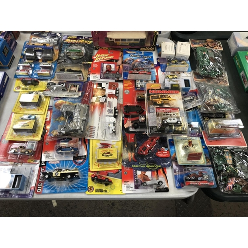 1056 - 35 VARIOUS BOXED COLLECTABLE TOY ITEMS TO INCLUDE 'JOHNNY LIGHTNING', 'SOLIDO' TRUCK, ARMY ACTION FI...