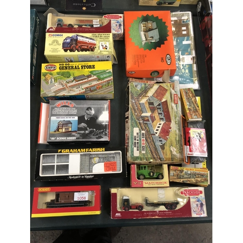 1058 - 16 VARIOUS BOXED ITEMS TO INCLUDE 'AIRFIX' WATERLOO FARMHOUSE MODEL, GENERAL STORE, 'CORGI' CLASSICS...