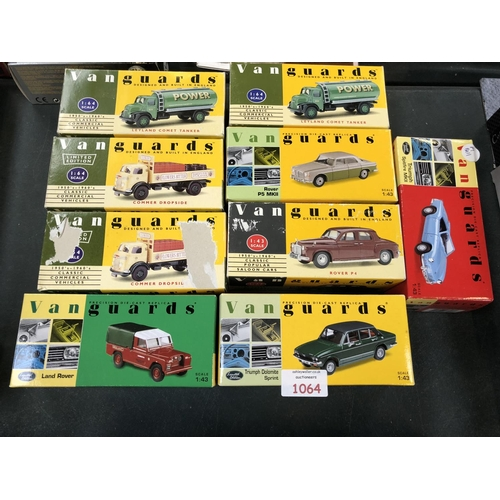 1064 - 9 BOXED 'VANGUARDS' LIMITED EDITION VEHICLES TO INCLUDE 'LAND ROVER', 'LEYLAND' COMET TANKERS, ETC (...
