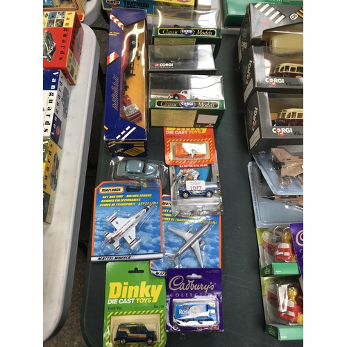 1077 - 11 VARIOUS BOXED ITEMS TO INCLUDE 'CORGI VOLVO GLOBE TROTTER' MODEL, 'CLASSIC CORGI'  MODELS, AEROPL...