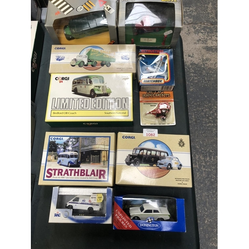 1082 - 10 VARIOUS BOXED ITEMS TO INCLUDE 'CORGI' LIMITED EDITION 'BEDFORD' COACH, FURTHER 'CORGI', 'ERTL' D...