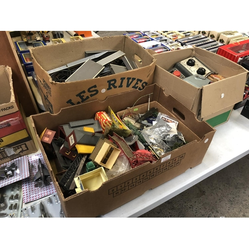 1091 - THREE BOXES CONTAINING VARIOUS RAILWAY ACCESSORIES TO INCLUDE BUILDINGS, TRACK, TREES, POWER UNITS, ...