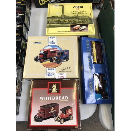 1099 - FOUR VARIOUS BOXED ITEMS TO INCLUDE A 'CORGI' MODEL T-VAN AND 'THORNEYCROFT', 'CORGI' UNITED DAIRIES...