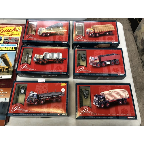1103 - 6 BOXED 'CORGI'  CLASSICS 'PASSAGE OF TIME LEYLAND' CLOCK BOXED MODELS, ALL MINT CONDITION (SEE PHOT...
