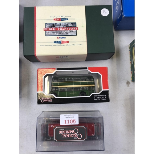 1105 - TWO BOXED ORIGINAL OMNIBUS LIMITED EDITION MODELS TO INCLUDE 'LONDON TRANSPORT' AND 'BRISTOL BUS' TO...
