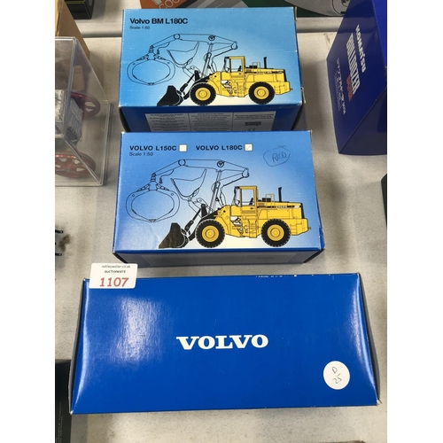1107 - THREE BOXED 'VOLVO' ITEMS TO INCLUDE 'VOLVO CONSTRUCTION EQUIPMENT', TURBO PLATFORM AND VOLVO BML180...