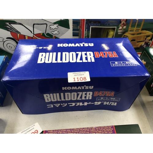 1108 - A BOXED SCALE 1-50 'KOMATSU' DOZER RIPPER TRACTOR MODEL, MINT CONDITION, D475A...