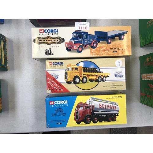 1110 - THREE BOXED 'CORGI' CLASSIC MODELS TO INCLUDE A 'JOHN JAMESON', 'ATKINSON' 8 WHEEL, AND 'BULWARK' TR...