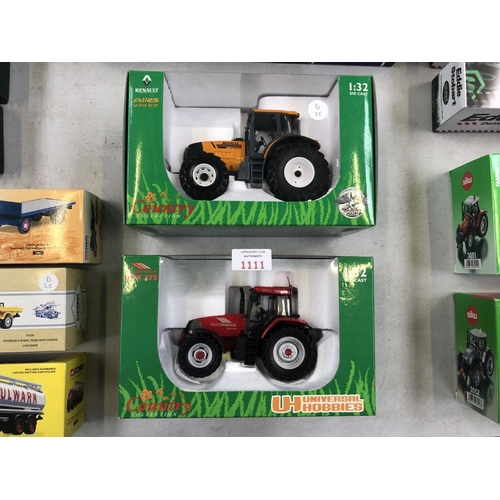 1111 - TWO BOXED 'UNIVERSAL HOBBIES' TRACTORS TO INCLUDE AN MTX 175 AND A 'RENAULT ATLES'  935RZ EXAMPLE (2...