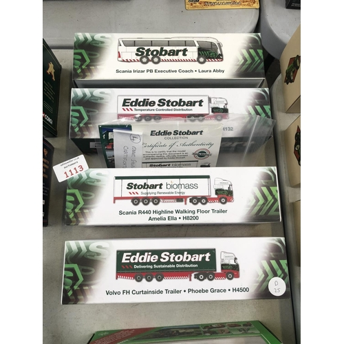 1113 - FOUR BOXED 'EDDIE STOBART' ATLAS MODELS TO INCLUDE THREE 'SCANIA' AND ONE 'VOLVO' EXAMPLE, WITH CERT...