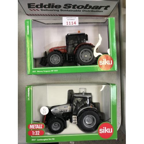 1114 - A PAIR OF BOXED DIE-CAST 'SIKU' TRACTOR MODELS TO INCLUDE AN MF 5455 AND LAMBORGHINI EXAMPLE, BOTH M...