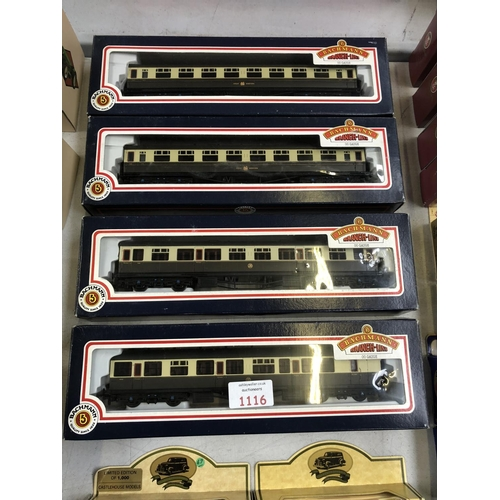 1116 - FOUR BOXED 'BACHMANN' BRANCH LINE 00 GAUGE GREAT WESTERN TRAIN CARRIAGE MODELS (4)...