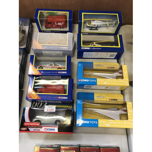 1123 - NINE VARIOUS BOXED 'CORGI' MODELS TO INCLUDE 'BRITISH AIRWAYS CONCORDS', '007 ASTON MARTIN DB5 THUND...
