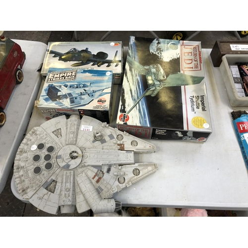 1131 - A GROUP OF VARIOUS ITEMS TO INCLUDE TWO BOXED 'STAR WARS AIRFIX' MODEL VEHICLES TO INCLUDE 'IMPERIAL...