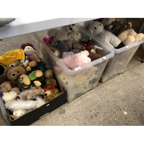 1132 - THREE BOXES OF VARIOUS CHILDREN'S SOFT TOY COLLECTABLE ITEMS TO INCLUDE TEDDY BEARS, ETC (QTY)...