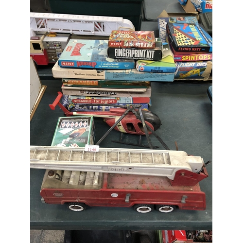 1145 - A VINTAGE 'TONKA' METAL FIRE DEPARTMENT TRUCK, HELICOPTER, VARIOUS VINTAGE BOARD GAMES TO INCLUDE 'S...