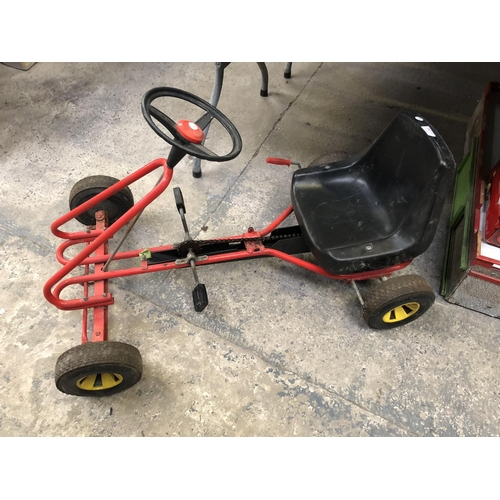 1148 - A VINTAGE METAL CHILDREN'S PUSH-A-LONG GO-KART...