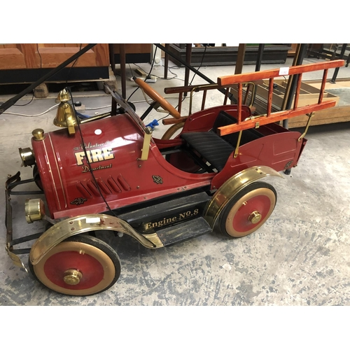 1150 - A CHILDREN'S VINTAGE METAL 'VOLUNTEER FIRE DEPARTMENT, ENGINE NUMBER 8' PUSH-A-LONG GO-KART, IN VERY...