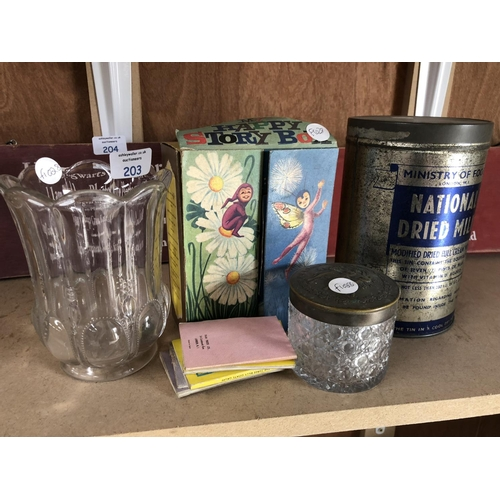 203 - A MIXED GROUP OF COLLECTABLES TO INCLUDE A VINTAGE DRIED MILK ADVERTISING TIN, FURTHER CUT GLASS ITE...