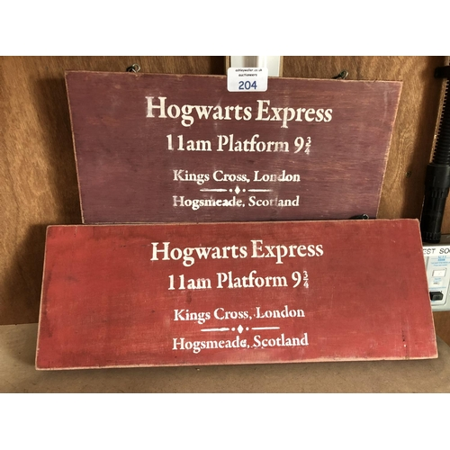 204 - TWO DECORATIVE WOODEN 'HOGWARTS' PLATFORM SIGNS...