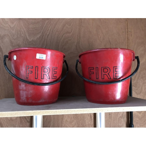 205 - TWO RED PLASTIC FIRE BUCKETS (2)...