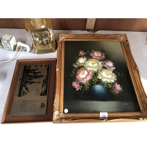206 - A DECORATIVE GILT FRAMED STILL LIFE OIL PAINTING TOGETHER WITH FURTHER PICTURE AND MODERN HERMLE QUA...