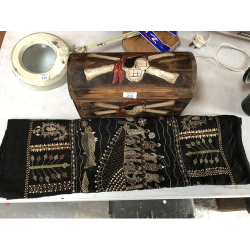 213 - A WOODEN DECORATIVE PIRATES JEWELLERY BOX TOGETHER WITH FURTHER TAPESTRY (2)...