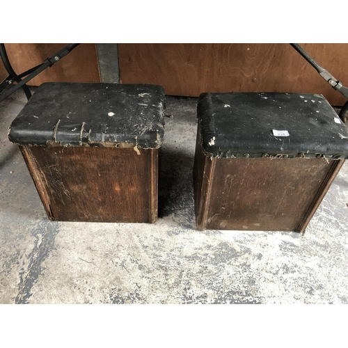 215 - A PAIR OF OAK FIRESIDE BOXES WITH BLACK LEATHER TOPS (2)...