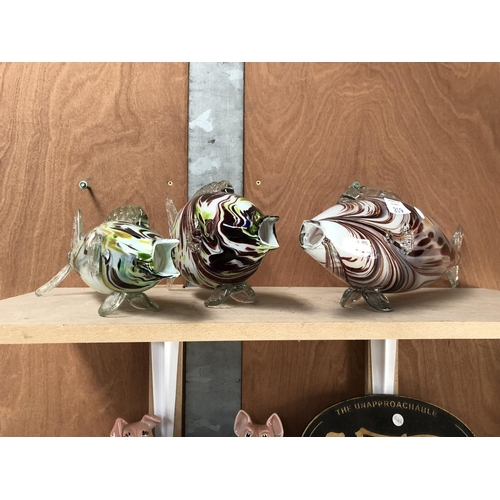 219 - THREE ART GLASS MURANO MODELS OF FISH (3)...