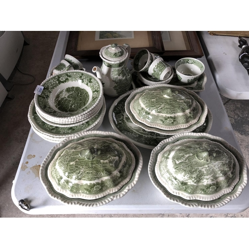 224 - A 26 PIECE 'ADAMS' GREEN IRONSTONE CHINA DINNER SERVICE COMPRISING LIDDED TUREENS, COFFEE POT, OVAL ...