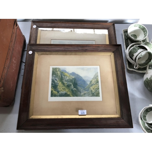 225 - A PAIR OF OAK FRAMED PRINTS TO INCLUDE 'SNOWDON FROM PONT-Y-GARTH' AND 'THE PASS OF LLANDBERRIS' SIG...