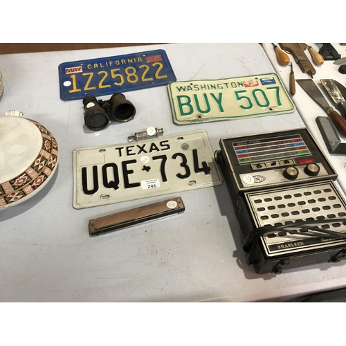 246 - A MIXED GROUP OF ITEMS TO INCLUDE THREE ENAMELED AMERICAN DRIVERS PLATES TO INCLUDE CALIFORNIA, TEXA...