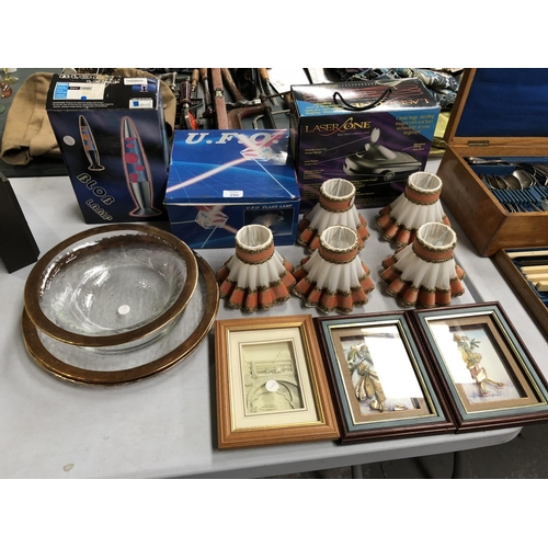 250 - A MIXED GROUP OF VARIOUS ITEMS TO INCLUDE LASER GLOBE LAMPS, FIVE VINTAGE SPANISH TABLE LIGHT SHADES...